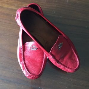 Excellent red coach loafers